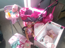 Huge set of Baby born and mamma and pappas dolls