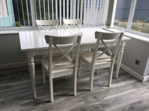 IKEA INGATORP DINING TABLE AND 4 INGOLF CHAIRS