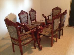Ornate Oriental Table and 6 Chairs