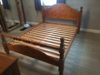Solid king sized pine bed very good condition