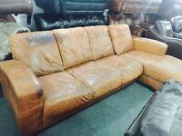 Full leather hide corner sofa