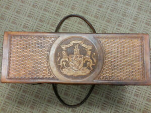 Antique Bagpipe Box Hand Tooled Leather