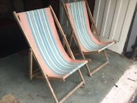 2 x Deck Chairs Vintage Classic Seat Outdoor Retro Camping Glamping