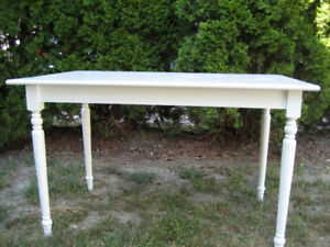 SOLID MAPLE MINI HARVEST TABLE, NEW SHABBY CHIC WHITE PAINT!