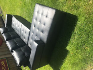 Faux black leather sectional L-shaped