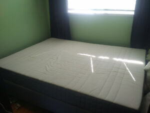 Queen sized mattress+frame and legs, like new