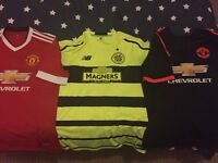 3 football tops 2 Manchester United, 1 Celtic top