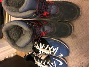 Size 7 Nike running shoes and timberland winter boots.
