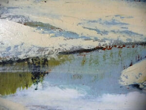Winter Abstract, by Listed Artist Margrit Gatterbauer 1960's Stratford Kitchener Area image 6