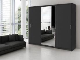 Brand New Monako 3 Door German Sliding Wardrobe Cupboard with Full Mirror, Drawers, Shelves, Rail