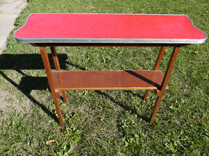 vintage side table..red top..wooden legs and shelf London Ontario image 2