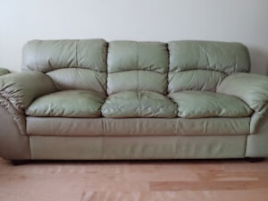 Leather sofa, loveseat, and armchair set - $500