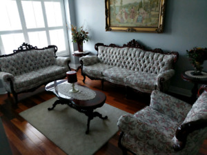 3 Piece Sofa Set with Coffee and Side Tables