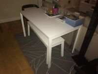 IKEA White Dining Table and Bench