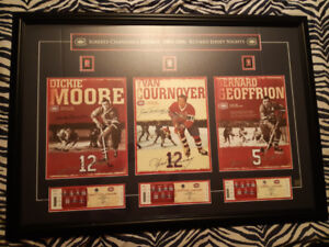 CADRE SIGNÉ YVAN COURNOYER DICKIE MOORE MONTREAL CANADIENS COA