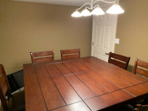 Counter Height Table -PRISTINE with 8 high back chairs