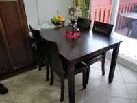 Wooden Dining Table and Kitchen Cabinet