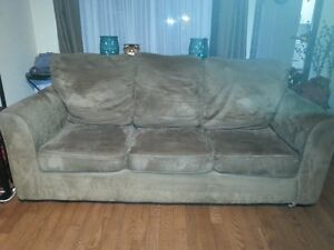 Tan microfibre sofa