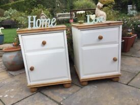 Pair Shabby Chic bedside cabinets