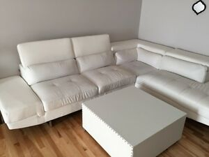 White faux leather sectional (Used condition 500$ OBO)