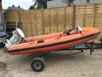 Rib inflatable boat 15hp engine full service