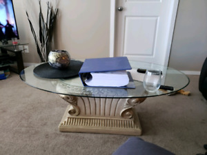 Round real wood , glass coffee table