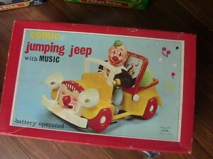 VINTAGE, New in Box ALPS COMIC JUMPING JEEP WITH MUSIC