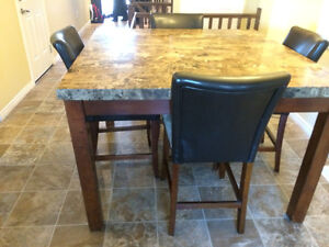 Marble Counter Height Dining Table Set