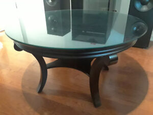 dark stained wooden coffee table.