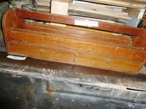 Antique Saws and wood tool carrier, wood level, ice pick