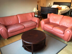 Moving Sale!  Salmon colour leather sofa and loveseat