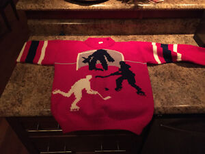 Hockey knit wool sweater