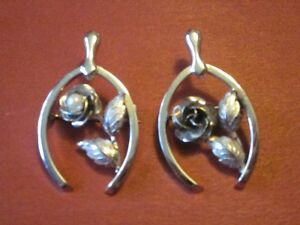 Vintage Bond Boyd Sterling Silver-Good Luck Pin with Rose