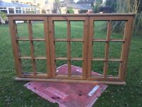 New Large wooden window frame with ironmongery