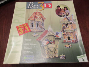 Wrebbit 3D Puzzle Tri-Pak - Birdhouse Collection ADORABLE
