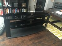TV console table with shelves