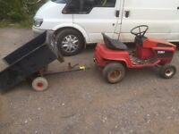 Toro lawn tractor and tipping trailer