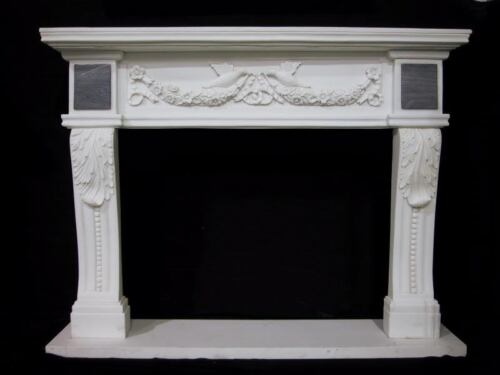 ELEGANT Fireplace Mantle - WHITE MARBLE MANTEL with Carved Embelishments