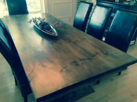NEW RUSTIC HARVEST TABLE w/ 2 MATCHING BENCHES