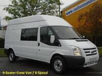 2012/ 62 Ford Transit 2.2Tdci 125 350L High Roof [ 9-Seat D/Crew Cab ] van