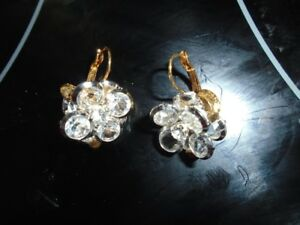 Crystal Cluster Clip Earrings - from estate
