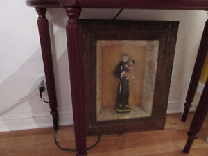 St, Anthony Statue in shadowbox frame
