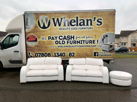 2 2 seater sofas and puffee in white leather £299