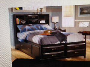 Full Kira Storage Bed with Bookcase and One Night Table