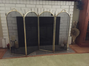Brass fireplace screen & fireplace tools