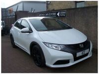 13 13 HONDA CIVIC 1.6 I-DTEC SPORT SE DIESEL 5DR WHITE £0 TAX BLACK ALLOYS A/C