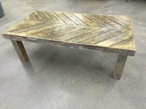 Reclaimed Wood Coffee Table (with angle board table top)