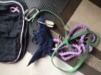Leads ropes, stirrups and fly mask