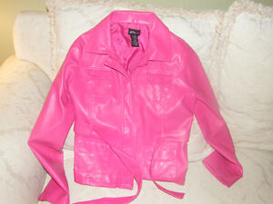Girls Pink Leather look jacket