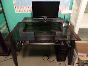 Tempered glass computer desk